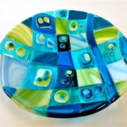 Fused Glass Bowl with handmade glass gems