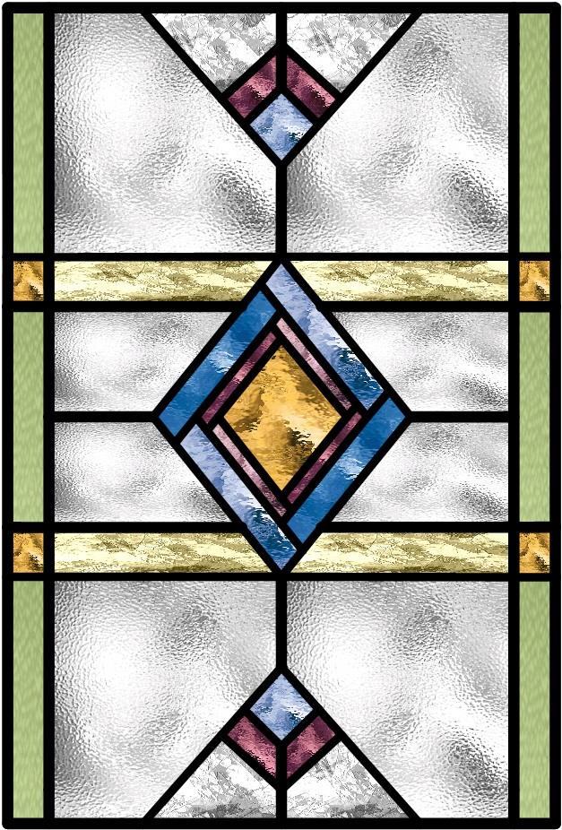 Art Deco Stained Glass Window Transparent Glass Studio