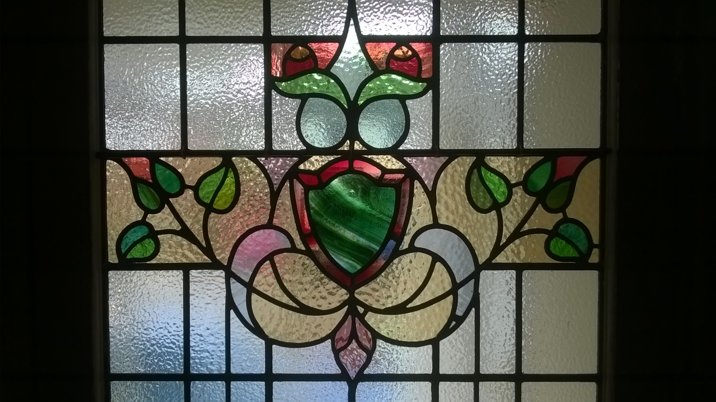 1930s Stained Glass Door Restoration Transparent Glass Studio