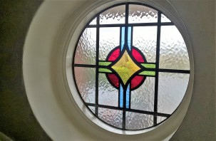 1930's Stained Glass Circular Window
